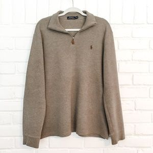 Polo Ralph Lauren Tan Quarter Zip Pullover Size M
